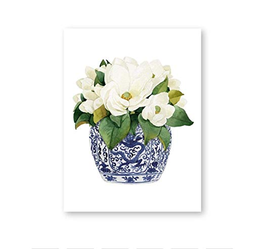 Weiße Orchidee & amp;Magnolien AquarellDekor Leinwand drucken orientalische Vase blau weiße Weide Stil Porzellan Blume Jar A