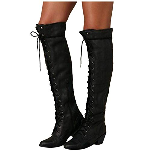 Swiusd Women's Knee High Calf Boots Closed Toe Knight Boots Motorcycle Boots Classic Strap Lace Up Low Heel Punk Military Army Shoes (Black, US 6.5-7/CN 37)