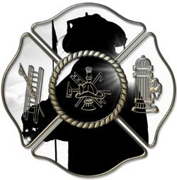 Firefighter Maltese Cross Silhouette Decal 12' Reflective