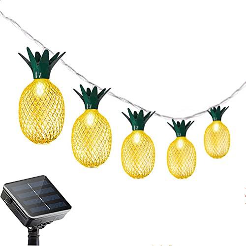 ZDSKSH Cadena de luces LED de piña solar, 16 pies, 20 luces LED solares para Día de San Valentín, fiesta interior dormitorio decoración blanco cálido