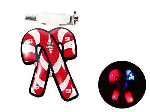 Alsino Pin's Lumineux Clignotant à LED Broche en Forme de Deux Cannes Sucre d'orge (b-149) Fixation avec épeingle Idéal pour Disco, Les Clubs de Nuit, Les Parties, Bars, De qualité supérieure