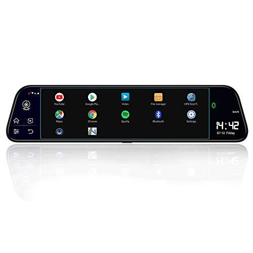 DVR para Coche, Greshare Android 8.1 4G 11.66 Pulgadas Pantalla panorámica Nube Espejo Streaming Media Conducción Grabadora Navegación Marcha atrás Video Música WiFi ADAS. (GS18950)