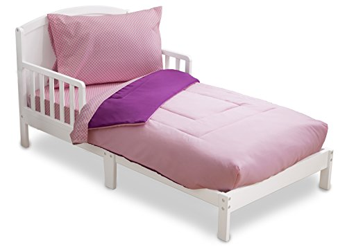 Toddler Bedding Set | Girls 4 Piece Collection | Fitted Sheet, Flat Top Sheet w/ Elastic bottom, Fitted Comforter w/ Elastic bottom, Pillowcase | Delta Children | Pink & Purple | Gingham