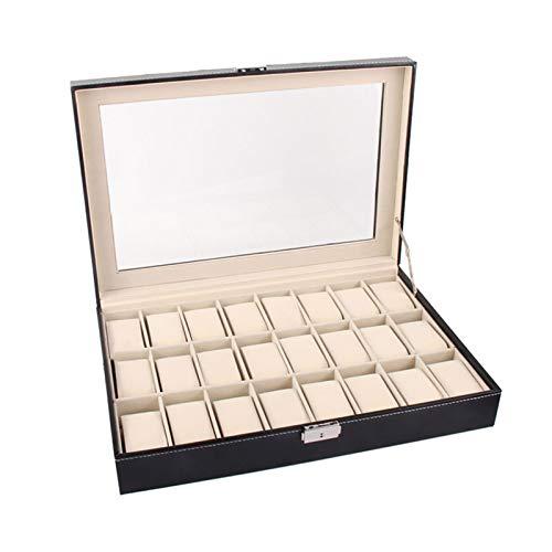 Caja de Relojes para Organizadora y Exhibición, Caja de reloj clásico Organizador Funda de almohada PU Cuero 24 Slots Almacenamiento Mostrar caja Claro Pulsera Pulsera Sostenedor para hombres Mujeres