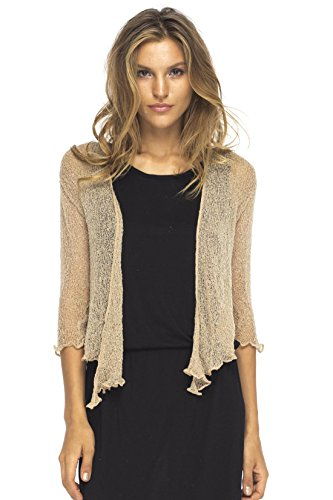 Back From Bali Womens Lightweight Knit Cardigan Shrug Lite Sheer Mocca