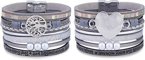 Adramata 2 Pack Women Multi-Layer Leather Wrap Bracelet Handmade Boho Tree of Life Wristband Braided Rope Cuff Bangle with Magnetic Buckle Jewelry