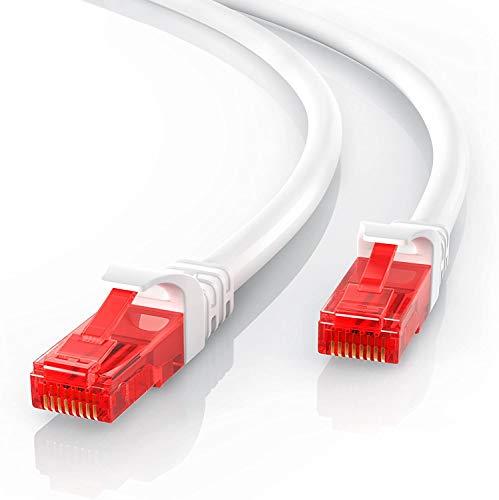 CSL - 15m Cavo di Rete di Alta qualitá - Cat.6 Ethernet Gigabit LAN RJ45-10 100 1000 Mbit s - Cavo Patch - UTP - Compatibile con Cat.5 Cat.5e Cat.7 - Bianco da 15 Metri