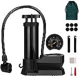 Mini Pompe à Vélo Portable, Pompe à Pied avec Manomètre et Aiguille à Bille de Gaz, Pompe à Air avec Sac de Rangement et Patch de Pneu, Compatible avec Valve Presta et Schrader Universelle