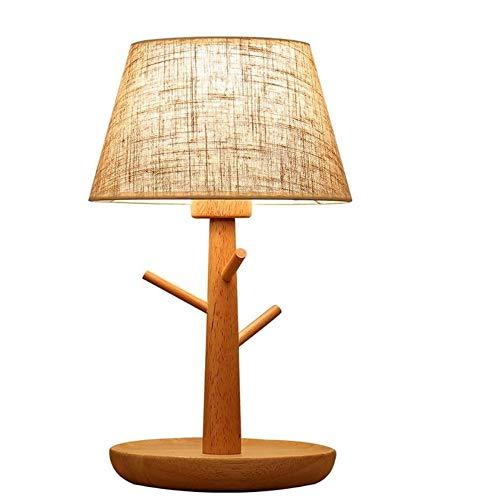 CHNOI Niños calienta la luz la noche del sitio Dormitorio lámpara de cabecera con base de almacenamiento de madera gancho regalo creativo multifunción lámpara de mesa de tela Pantalla luz de escritori