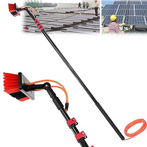 Nienyu Kit de Limpiacristales con Manguera de 20M, Poste de Limpieza Multifunción Telescópico de 7.2M, Cepillo de Limpieza de Paneles Fotovoltaicos y Solares,55cm Brush Head