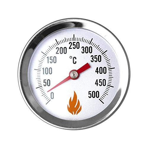 PUR Schamotte Holzbackofen Thermometer für Pizzaofen 500 °C Grad I Deckelthermometer Grill & Ofen mit Einschraubgewinde Edelstahl
