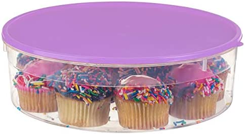 Zilpoo Plastic Pie Carrier with Lid 10 5 Cupcake Container Muffin Cookies Cake Holder Round product image