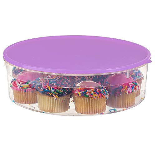 "Zilpoo Plastic Pie Carrier with Lid, 10.5"", Cupcake Container, Muffin, Cookies, Cake Holder, Round Freezer Storage Food Keeper with Cover, Purple"