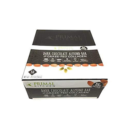 Primal Kitchen, Bar Collagen Dark Chocolate Almond Sleeve, 1.7 Ounce, 12 Count
