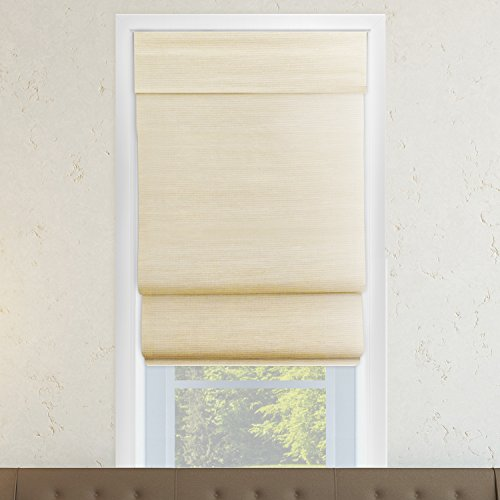 """Chicology Cordless Double Layered Roman Shades Jute Fabric Window Blind 23""""W X 64""""H Abaca Cream (Natural Woven)"""