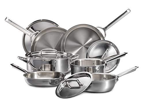 Wolf Gourmet 10 Piece Cookware Set - Pots, Pans, Skillet, Ergonomic Handle, Dishwasher Safe, Stainless Steel (WGCW100S)