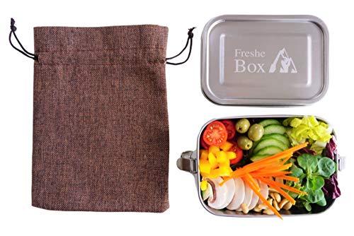 Freshe Box Fiambrera de acero inoxidable, antigoteo, aprox. 800 ml, fiambrera de acero inoxidable libre de BPA, pequeña fiambrera para niños, gran regalo, ensalada para llevar el almuerzo