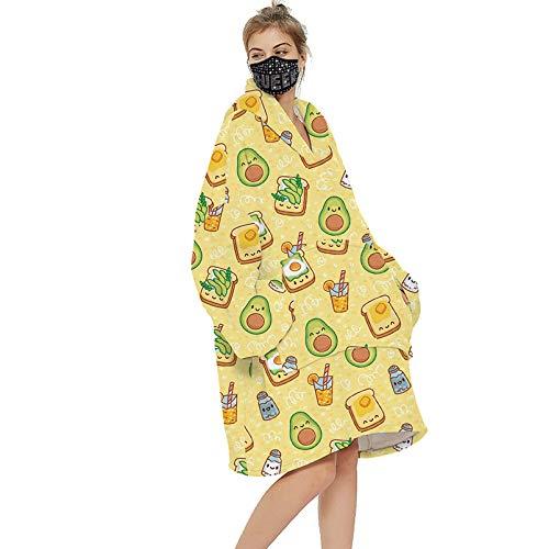 DGSFES Decke Hoodie Comfy Oodie Übergroße Hoodie Wearable Decke Huggle Hoodie Womens Winter Hoodies Mit Warmem Riese Pocket Sherpa Sweatshirt Erwachsene Männer, Doppelseiti Avocado