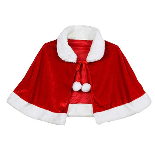 YesCoser Christmas Costume Mrs Santa Claus Cloak Velvet Shawl Cape Hooded Cape Red Robe for Adults Kids (for Adult)