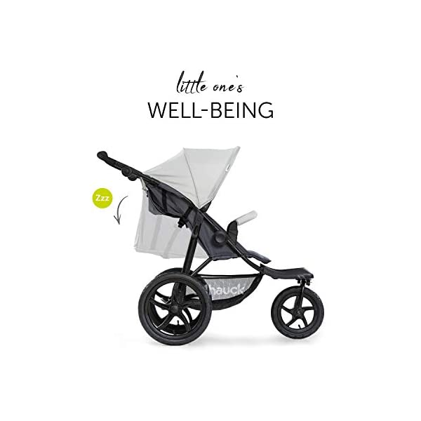 Hauck Runner, Jogger Style, 3-Wheeler, Pushchair with Extra Large Air Wheels, Foldable Buggy, For Children from Birth to 25kg, Lying Position - Silver Grey Hauck LONG USE - This 3-wheel pushchair is suitable from birth (in lying position or in combination with the 2in1 Carrycot) and can be loaded up to 25kg (seat unit 22 kg + basket 3 kg) ALL-TERRAIN - Thanks to the big air wheels - back 39cm diameter, front 30 diameter – as well to the swiveling and lockable front wheel, this jogger style pushchair can be used on almost any terrain COMFORTABLE - Thanks to adjustable backrest and footrest, sun canopy, large shopping basket, and height-adjustable push handle 6