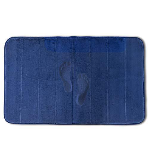 Ashmore バスマット メモリーフォーム 低反発 高密度 吸水 速乾 足拭きマット お風呂マット 脱衣所 洗濯可能 50X80cm ネイビブルー