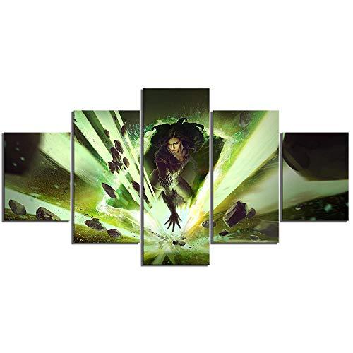 WUXI Leinwanddrucke 5 Stück GwentKartenspiel Spielkartenplakat Leinwandbilder Wandkunst für Wohnkultur Drucke auf Leinwand