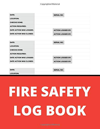 Fire Safety Log Book: A4 Red and Black Cover | Fire Alarm Testing Log Book |Fire Inspection And Testing Log | Health And Safety Compliance Record Book ... Log Book, For Landlords, Business and Schools