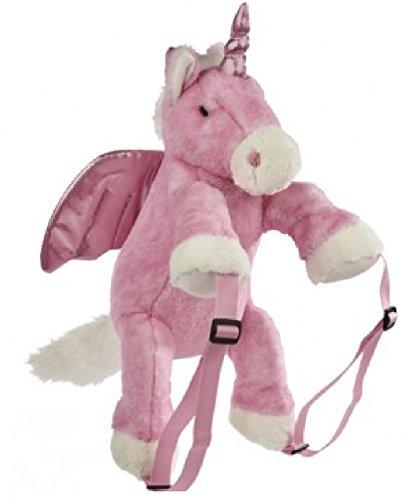 Einhorn Rucksack Rucksack Softplüsch Farbe Prinzessin Pink und Weiß mit rosa und silberfarbenen Glitzerflügeln und Horn