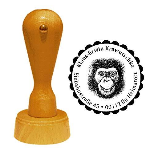 Stempel Adressstempel « grinsender SCHIMPANSE » Durchmesser ca. Ø 40 mm - mit persönlicher Adresse, Motiv und Zierrand - Tier Affe Affen Kopf Grinsen