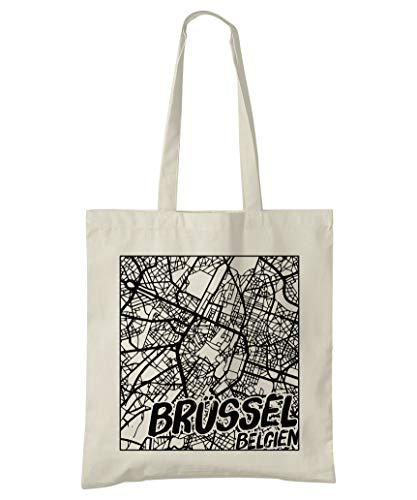 Brüssel, Belgien, Stadtplan Einkaufstasche (Style 3d: Deutsche)