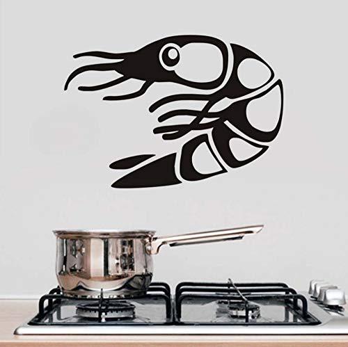 Schlafzimmer Wandaufkleber Kreative Meeresfrüchte Garnelen Abnehmbare Restaurant Selbstklebende Kaffee Küche Kühlschrank Ofen Mikrowelle Restaurant Wand Wasserdicht Vinyl Aufkleber Pvc 62 Cm * 43 Cm