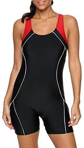 BeautyIn Damen Bademode Schwimmanzug mit Bein Bauchweg Figurformenden Rückaussicht Bandeau, Schwarz/Rot, 14/Tag 2XL