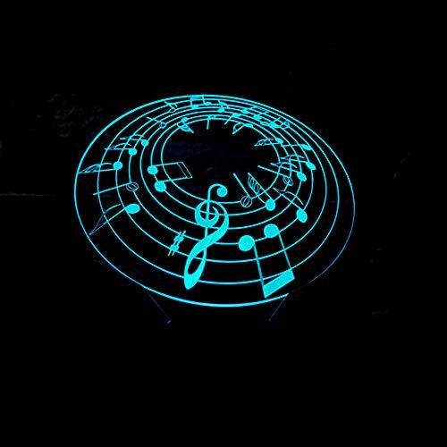Nota Musical 3D Led Luz De Noche, 7 Colores Lámpara De Decoración Cambio - Regalo Perfectos Para Niño, Ilusión Óptica,Lámpara,Luz Nocturna