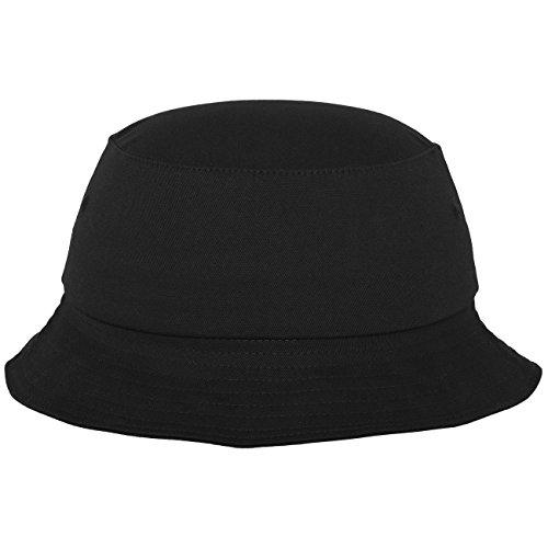 Flexfit Cotton Twill Bucket Hat - Unisex Anglerhut für Damen und Herren, einfarbig, mit patentiertem Flexfit Band, Farbe Schwarz, one size