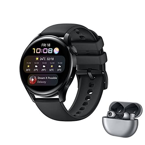 HUAWEI WATCH 3 - 4G Smartwatch, 1.43'' AMOLED Display, eSIM Telefonie, 3 Tage Akkulaufzeit,30 Monate Garantie, schwarzes Fluorelastomerarmband,inklusive FreeBuds Pro
