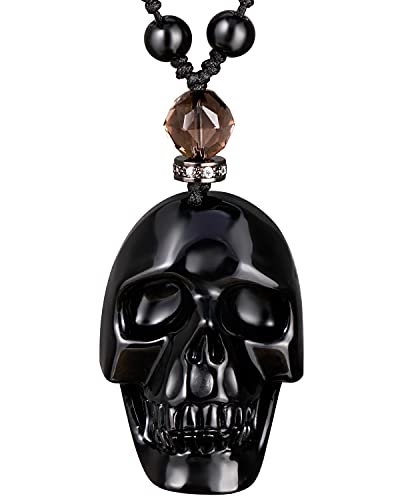 Jewever Black Obsidian Skull Necklace Pendant for Women Men Crystal Hand Carved Reiki Healing Stone Statue Gemstones and Crystals Fine Art Jewelry