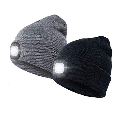 Sdbyn LED Beanie Hat, Winter Warm Gifts for Men Dad Him, Unisex Lighted Headlamp Cap for Walking at Night, Biking, Fishing, Camping, Hunting (2 Pcs)