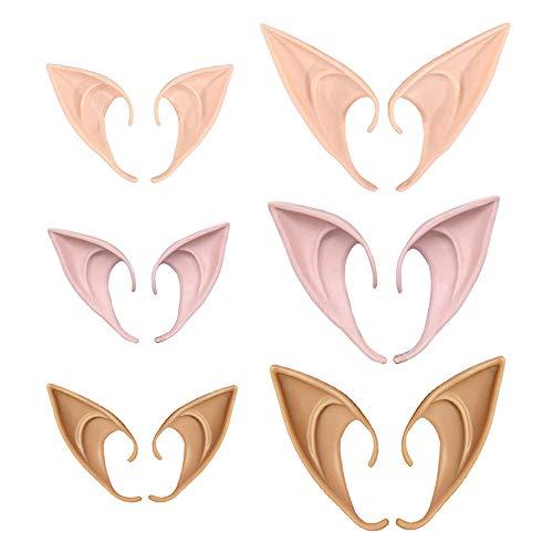 6 Pairs Fairy Pixie Elf Ears,Latex Fairy Pixie Elf,Fairy Goblin Vampire Elven Ears for Cosplay Halloween Christmas Any Themed Party (2 Sizes,3 Colors)
