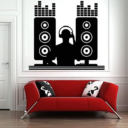 DJ vinilo etiqueta de la pared música discoteca disc jockey músico autoadhesivo etiqueta de la pared de moda decoración del hogar etiqueta de la pared A4 46x42cm