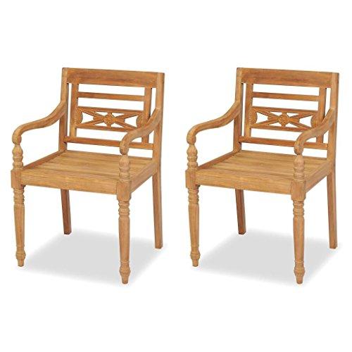 Roderick Irving Lot de 2 chaises de Jardin Gartenpirat Fauteuil en Teck Marron 55 x 51,5 x 84 cm