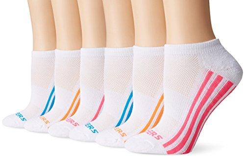 Skechers Women's Low Cut Athletic Sock 6-Pack, White/Bright, 9-11