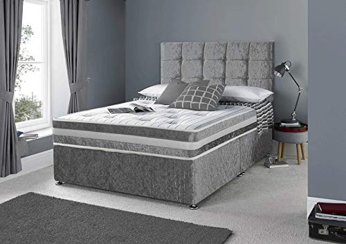 Frankfurt & Co - Crushed Velvet Divan Set with Matching Fabric Headboard and Memory Foam Mattress & 2 Free Side Drawers (Silver, 4FT-Small Double)