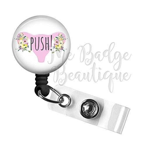 Labor and Delivery Push Retractable ID Badge Reel, Swivel Alligator Clip, 34in. Nylon Cord, Medical MD RN Nurse Badge ID, Badge Holder, ID Badge Pull, Office Employee Name Tag
