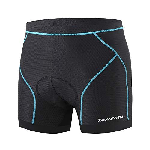 Tansozer Cycling Shorts Men Padded Cycle Shorts MTB Mountain Bike Shorts Breathable Biking Bicycle Shorts Undershorts Men Padded Underwear for Cycling Blue M