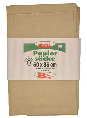 JUFOL 30201 BioBag Papiersack 60L 3St Papiersack-60L-500 x 850 mm pro Pack-einzeln gefaltet, 60 Liter, 3 Stück