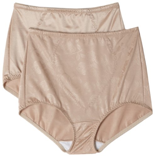 Bali Women's Shapewear Tummy Panel Brief Firm Control 2-Pack,Nude Deluster,Large
