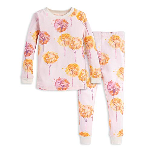 Burt's Bees Baby Baby Girls' Pajamas, Tee and Pant 2-Piece PJ Set, 100% Organic Cotton, Fall Foliage, 7 Years