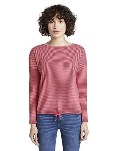 TOM TAILOR Damen T-Shirts/Tops gestreiftes Langarmshirt pink Stripe Structure,L