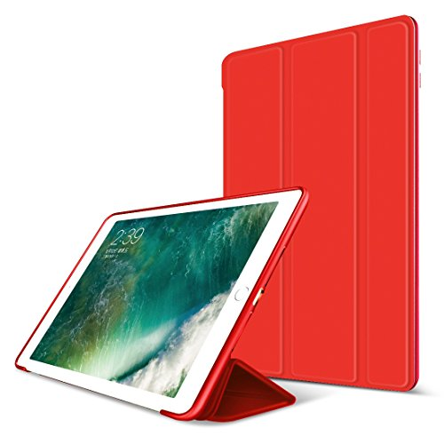 iPad Air 2 Case,GOOJODOQ Smart Cover With Magnetic Auto Sleep/Wake Function PU Leather Shockproof Silicon Soft TPU Folio Case For Apple iPad Air 2 in Red