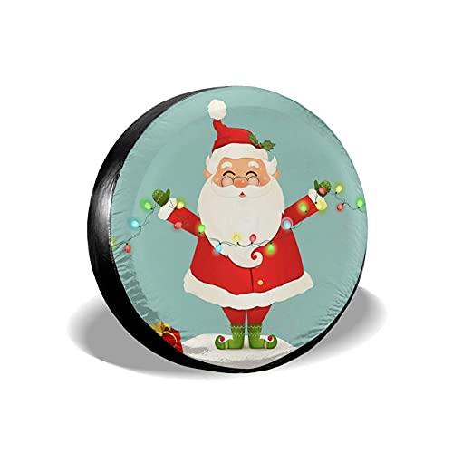 Cubierta de repuesto para neumáticos de Santa Claus con luces de Navidad, universal, impermeable, a prueba de polvo para remolques, RV, SUV y muchos vehículos de 14/15/16/17 pulgadas